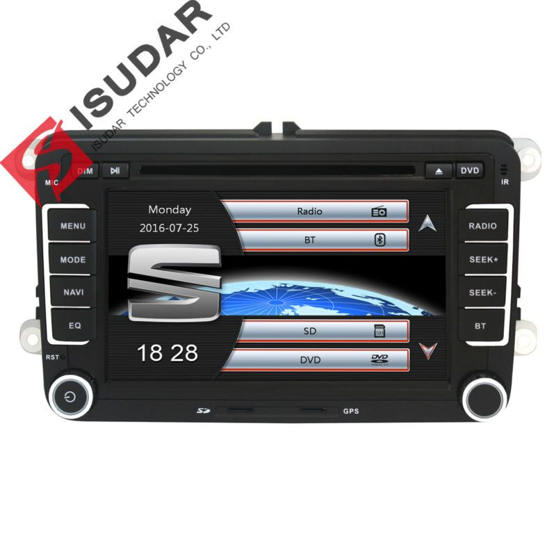 Isudar Car Multimedia player GPS 2 Din Autoradio For Seat/ Leon/Altea/ Toledo/VW/Skoda Wifi FM Radio Map Ipod Capacitive Screen
