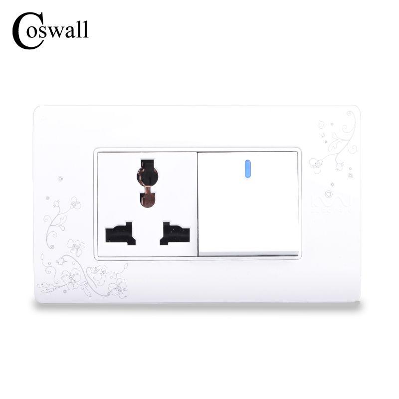 Prise de courant murale universelle 3 trous COSWALL Style Simple avec interrupteur marche/arrêt 1 Gang 2 voies