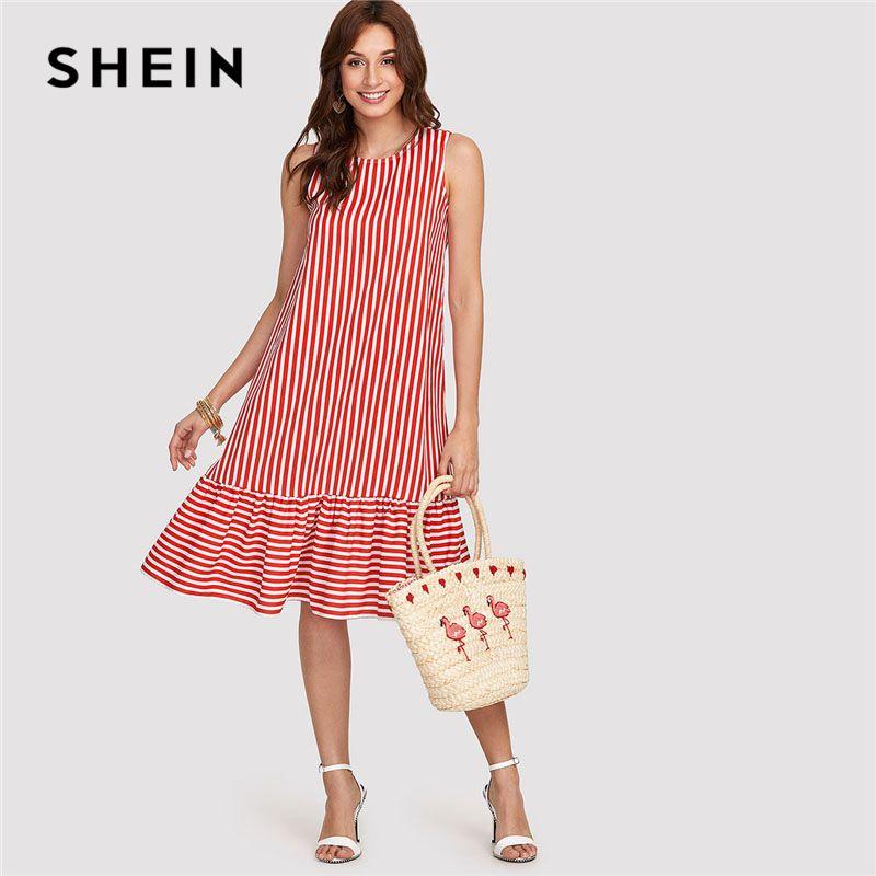 SHEIN Red Pinstripe Ruffle Swing Dress Women Ruffle Round <font><b>Neck</b></font> Sleeveless Drop Waist Loose Dress 2018 Summer Vacation Dress