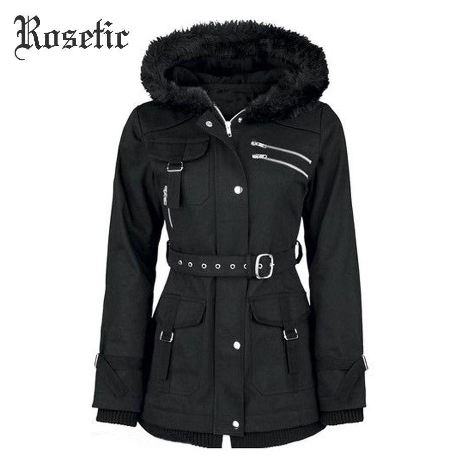 Rosetic Gothic Coat Women Sequined Rivet Hooded Zipper Black Jackets Adjustable Waist Belt Long Sleeve Flocking Outerwear Coats