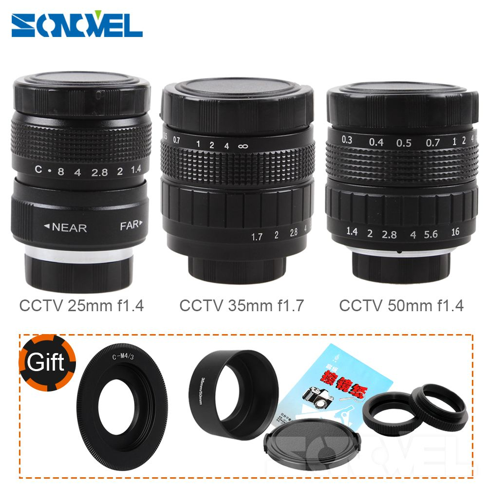 FUJIAN 35mm F1.7 CCTV Movie lens + 25mm f1.4 TV Lens + 50mm f1.4 TV Lens for Panasonic Olympus Micro 4/3 m4/3 OM-D GH3 GX8 GX7