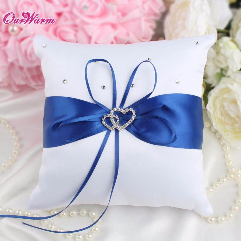 Много Цвет 20x20 см двойное сердце атласная кольцо Подушка с горный хрусталь Даймонд для Свадебная вечеринка украшения Текстиль для дома 1 шт.