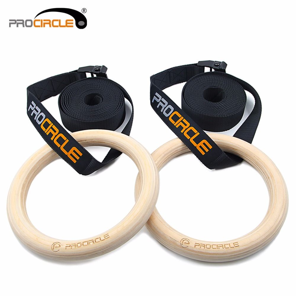 PROCIRCLE Wood Gymnastic Rings 28mm Gym Rings with Adjustable Long Buckles Straps For Gym Exercise Crossfit Pull Ups Muscle Ups