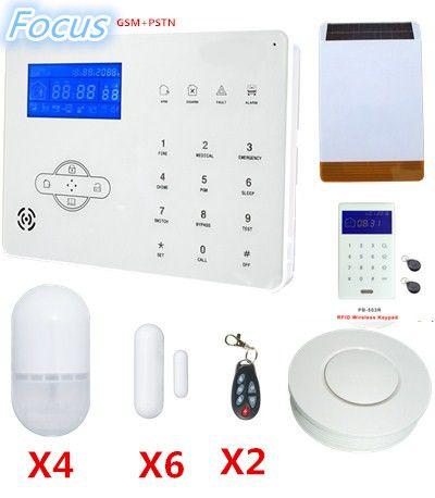 2018 popular selling Focus Wireless GSM Alarm System Home Safety protection Alarm System with Solar-power Strobe Falsh Siren