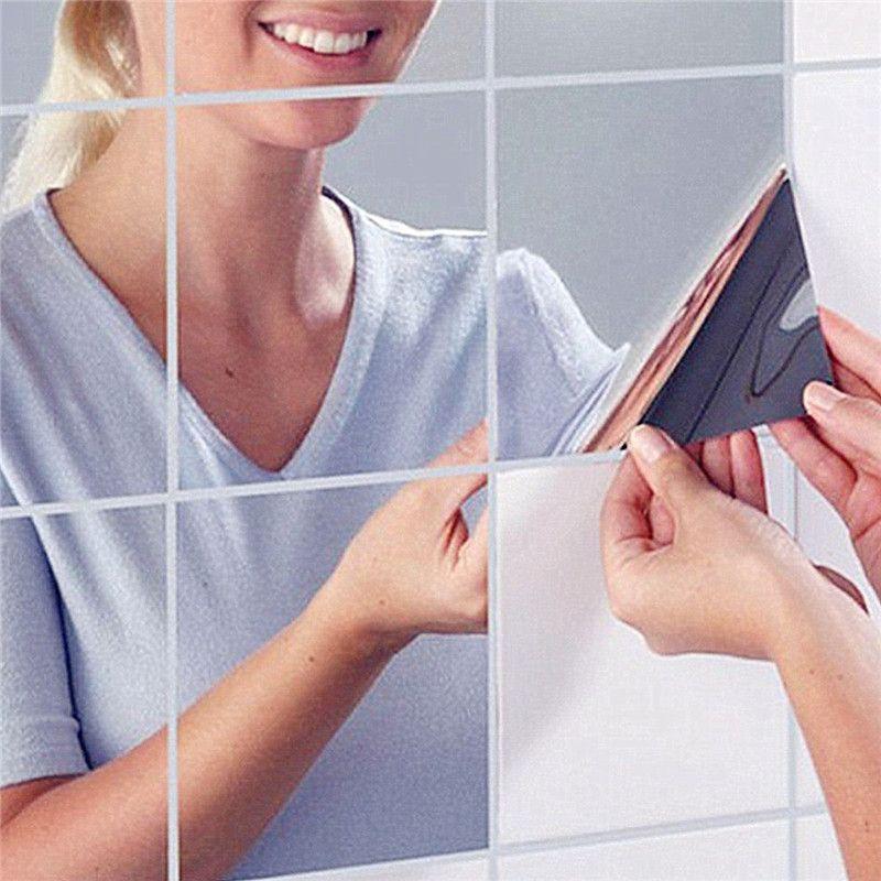 Neue Ankunft Hohe Qualität 9 Stücke Quadratischen Spiegel Fliesen Wandaufkleber 3D Aufkleber Startseite Room Dekoration DIY Für Wohnzimmer veranda