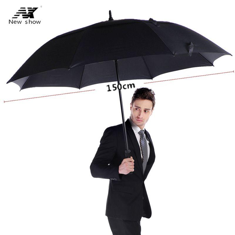 NX golf umbrella men strong windproof <font><b>Semi</b></font> automatic long umbrella large man and women's Business umbrellas mens Custom logo