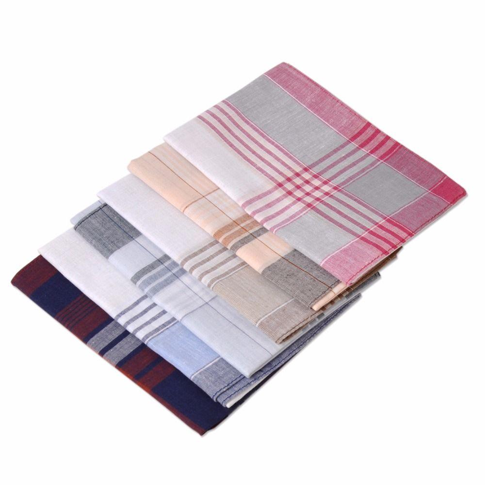 CiciTree 6 pcs/ensemble Nouveau Multicolore Carré Bande 100% Coton Mouchoirs 38*38 cm Hommes Classique Motif Vintage Mouchoir De Poche Plaid