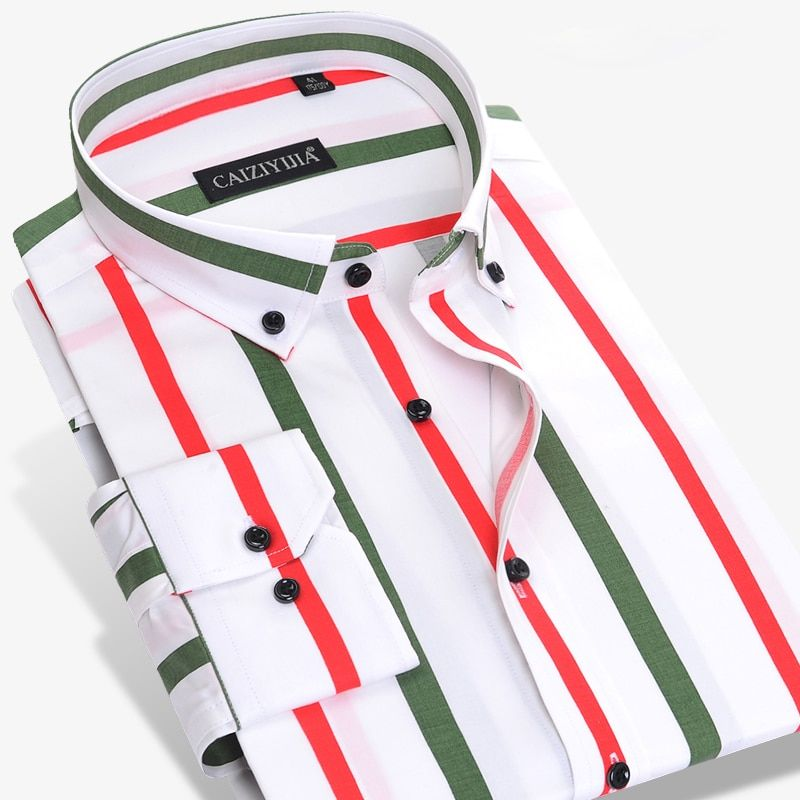 Homme décontracté contraste Multi Vertical rayé chemises de haute qualité à manches longues Slim-fit boutonné chemises habillées sans poche