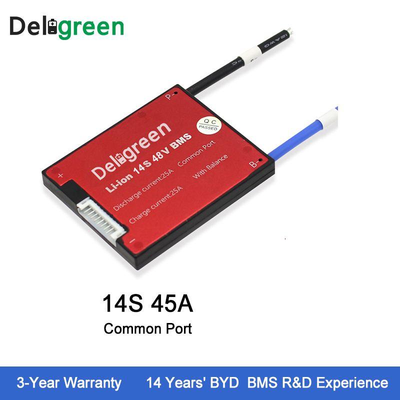 Deligreen 14S 45A 48V PCM/PCB/BMS for lithium battery pack 18650 Li-Po LiNCM Battery Pack