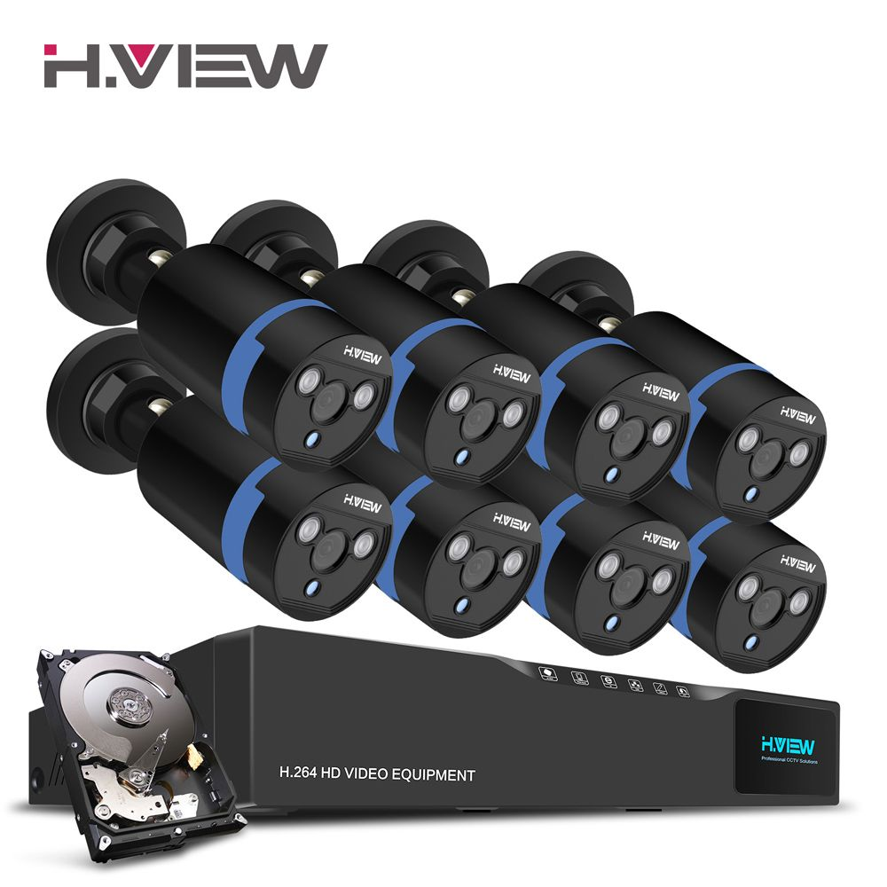 H.View 16CH Surveillance System 8 1080P Outdoor Security Camera 16CH CCTV DVR 1TB HDD Kit Video Surveillance Easy Remote View