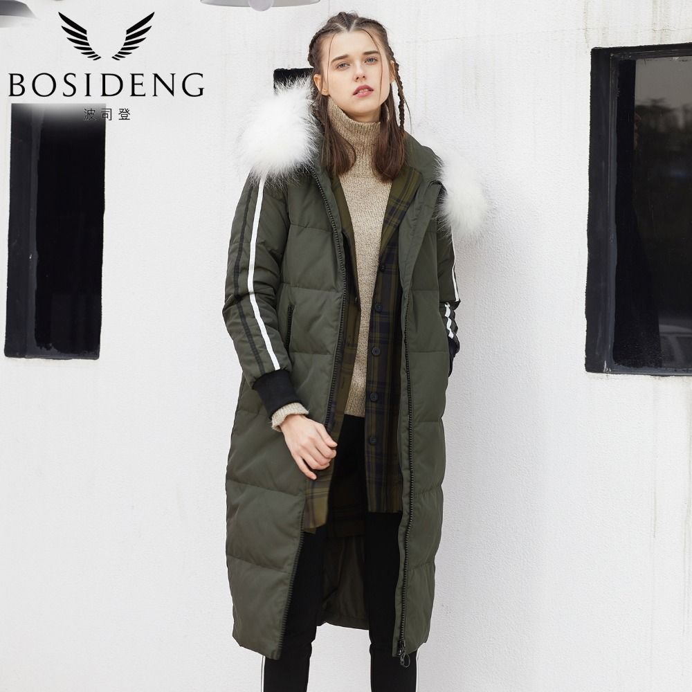 BOSIDENG Hot Sale Women Winter Down Jacket Windproof Duck Down Coat Big Brand Detachable White Real Fur Collar Parka B70142144V
