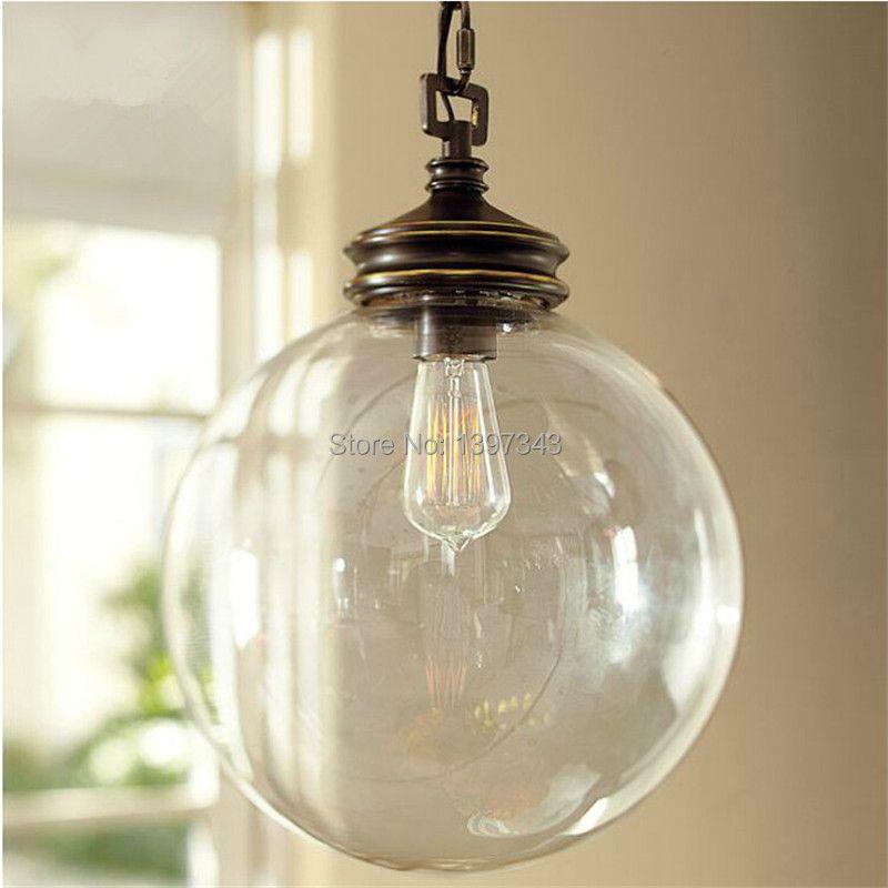 Wunderland Retro Vintage Loft Glas Ball Anhänger Balck Durchmesser 20/25/30 cm Beleuchtung Heißer Hause Schmücken PL-32