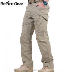 IX9 Kota Kargo Taktis Celana Pria Combat SWAT Tentara Militer Katun Banyak Kantong Peregangan Fleksibel Pria Kasual Celana XXXL