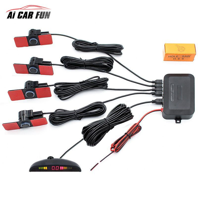 New 16mm 6color Auto parktronic 4 Car parking sensor system detector radar monitor LED display reverse backup Parking Assistance