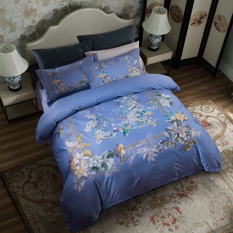 Posodono Luxury European royal blue bedding set duvet covers 100% natural Egyptian cotton mandala bedlinen sheet queen king size