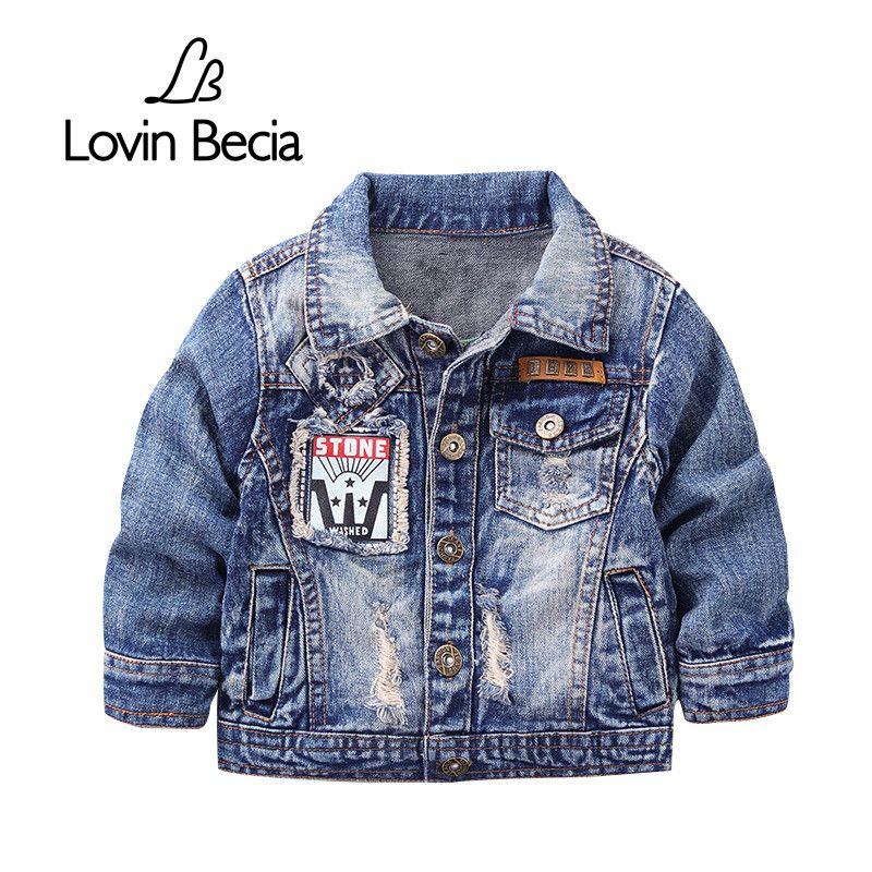 Lovinbecia детская джинсовая куртка для пальто для мальчиков модная повседневная одежда детская верхняя одежда Ковбой малышей Обувь для мальчи...