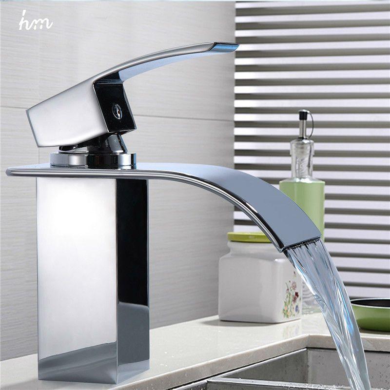 Robinet de lavabo cascade Chrome mitigeur monotrou robinets de salle de bain robinets de bassin généralisés origine guguangdong chine