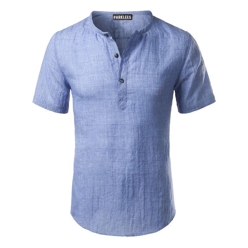 Cotton Linen Shirt Men 2017 Brand Short Sleeve Mens Henley Shirt Casual Slim Fit Plaid Mens Dress Shirt 3 Buttons Chemise Homme