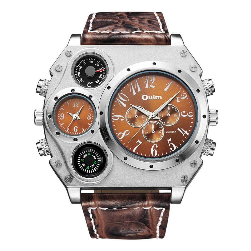 Plusieurs fuseaux horaires montres à Quartz hommes montres Oulm marque montre homme chaud montre analogique nouveau avec étiquettes en laiton mode Style décontracté