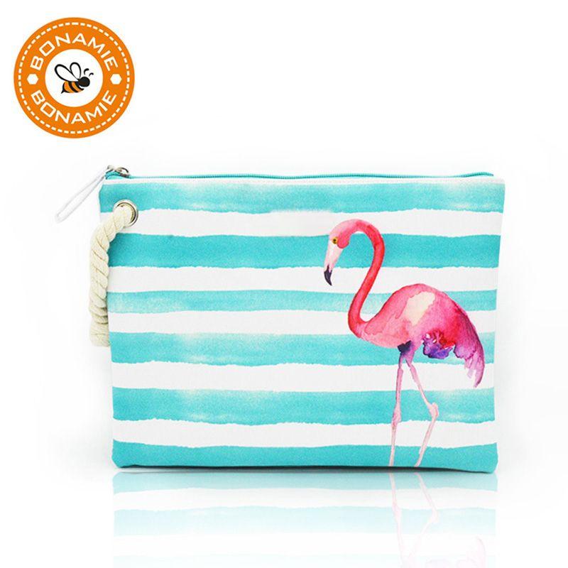 BONAMIE femmes humide Bikini pochette marque Designer mode rayure sac à main pour femmes Flamingo chanvre corde sacs de plage Bolsa Feminina