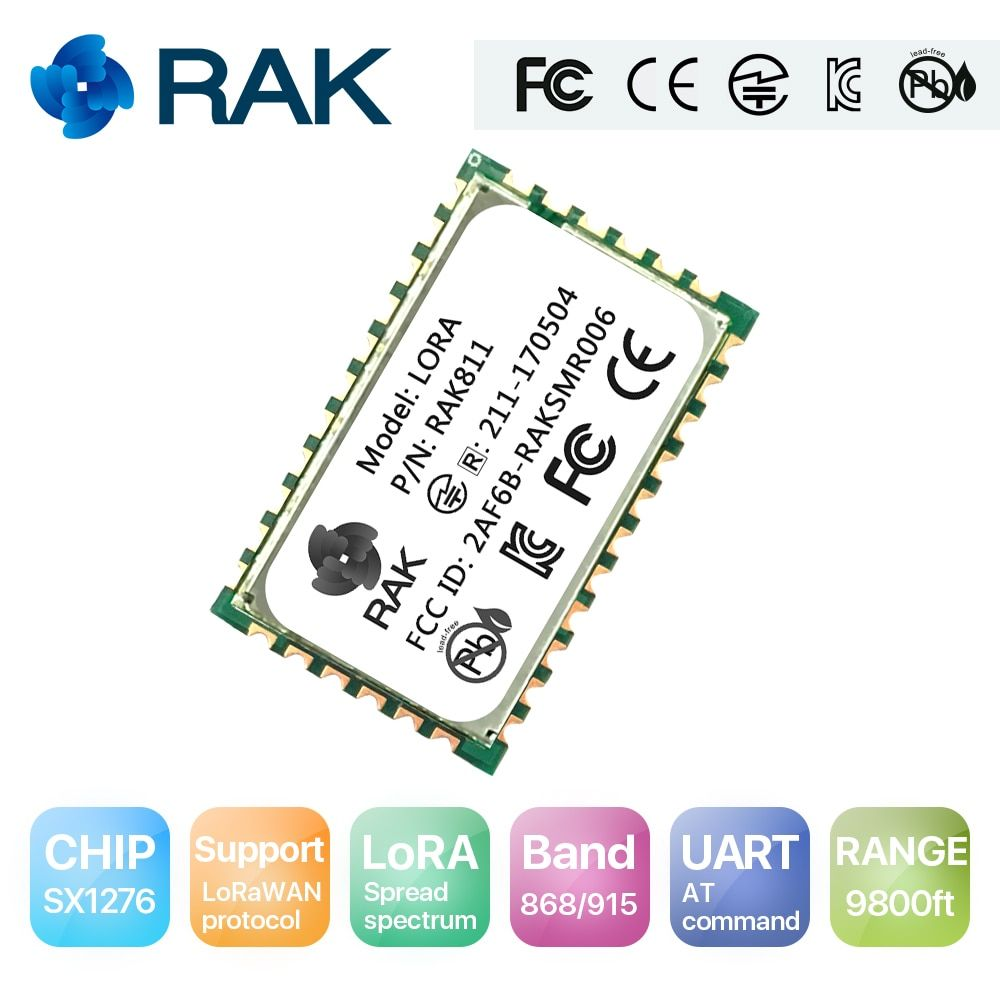 RAK811 LoRa module, SX1276, 868/915MHz, Support AS923 and LoraWan, with TELEC CE,FCC,KCC certify/certification, 3000 meters