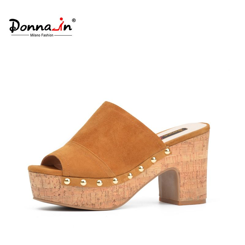 Donna-in 2017 summer new slides genuine leather women's shoes platform thick high heel sandals fashion rivet kid suede