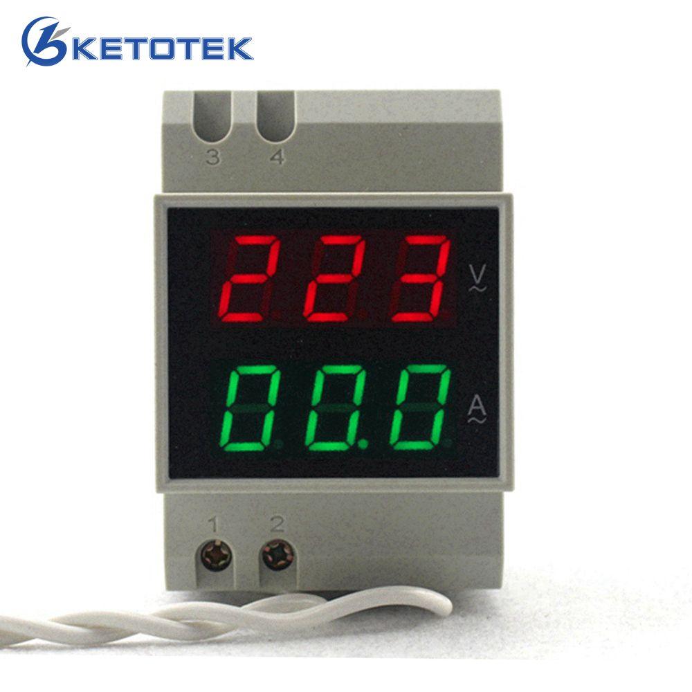 Din Rail Dual Led Digital AC Voltmeter Ammeter Voltage Ampere Meter <font><b>Volt</b></font> Current Panel Tester AC80-300V AC 200-450V 0.1-99.9A