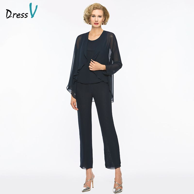 Dressv Blue Long Mother Of The Bride Dress Pants Suit Sheath Long Sleeves Scoop Neck Wedding Party Mother Of The Bride Dress