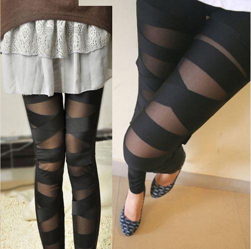 Leggings Maille Femmes Leggings Sexy Halloween Gothique Legging Mince Noir Punk Rock Croix Bandage Élastique Femme Pantalon