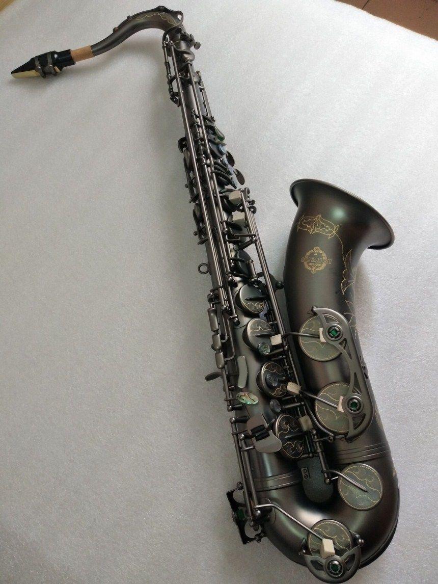Neue Japan Suzuki B flache Musical instrument Tenor Saxophon spielen professionell absatz Schwarz Nickel Gold Saxophon Freies