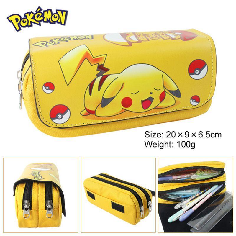 1 pièces PU Pokemon Go Pikachu Étui à Crayons À Fermeture Éclair Fournitures Scolaires Bts Papeterie Cadeau Estuches Sacs de Crayon D'école