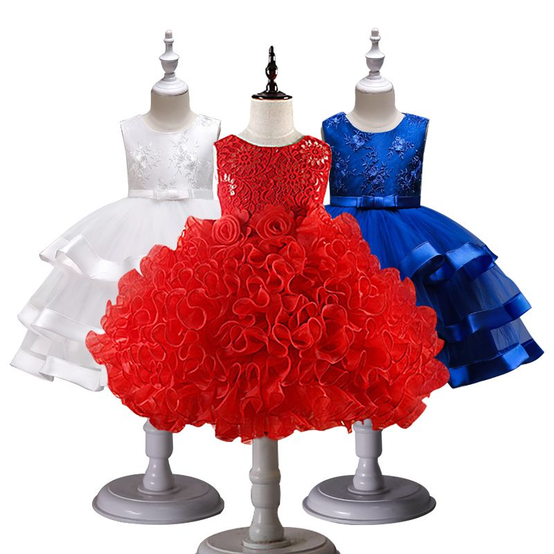 Girls Princess Flowers Ball Gown Weddings Dress <font><b>Party</b></font> Princess Dress Kids Clothes Girls Dresses for Christmas New Year custumes