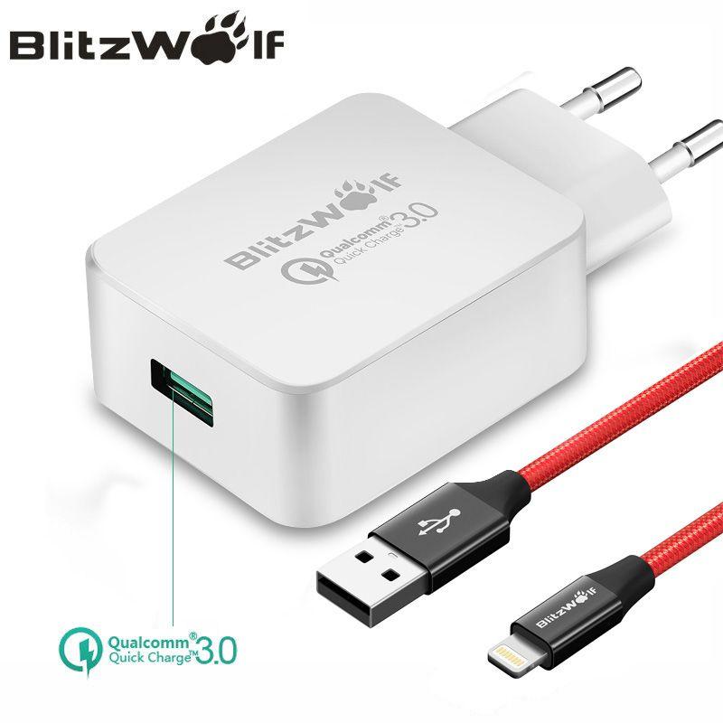 BlitzWolf QC3.0 chargeur USB EU chargeur de téléphone portable adaptateur chargeur de voyage mural avec câble USB pour Xiaomi pour Samsung pour iPhone
