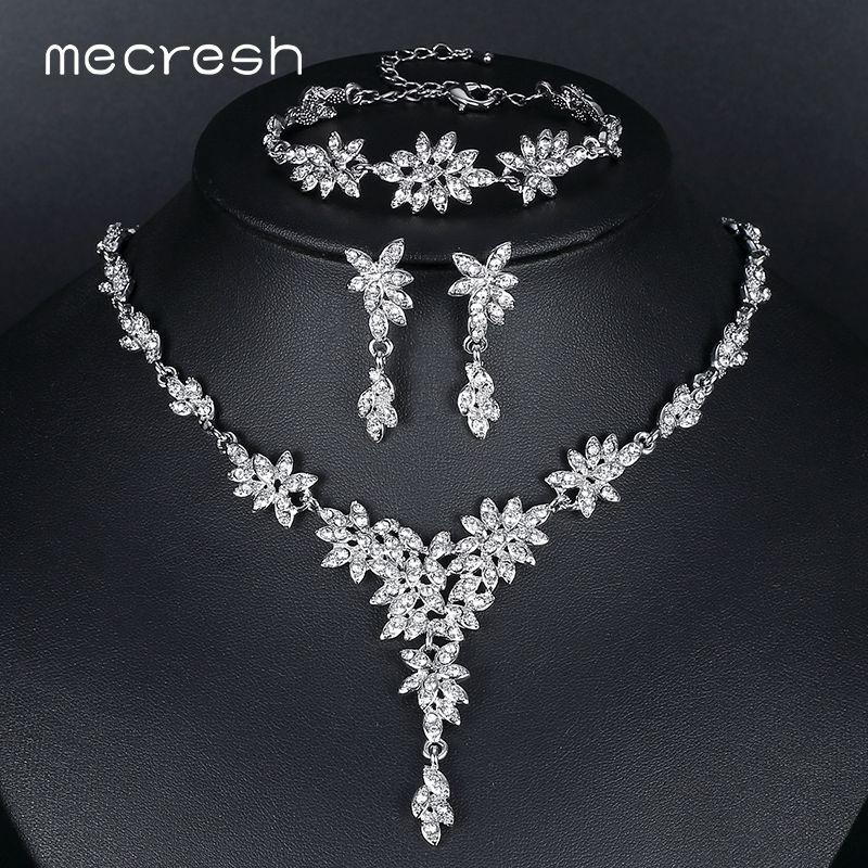 Mecresh Leaf Crystal Wedding <font><b>Jewelry</b></font> Sets for Women Silver Color Rhinestone Bridal Necklace Earring Sets <font><b>Jewelry</b></font> MTL433+MSL204