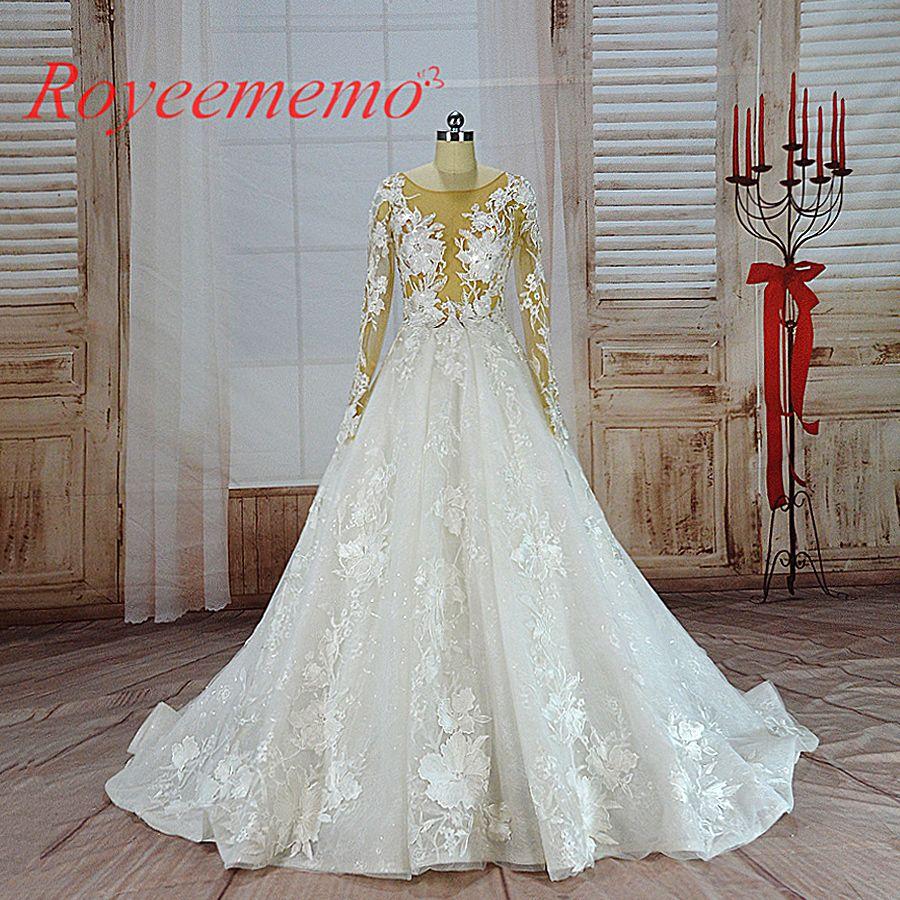 Vestido de noiva heißer verkauf nude tüll sexy transparent top Luxus spitze Hochzeit Kleid langarm brautkleid großhandel preis