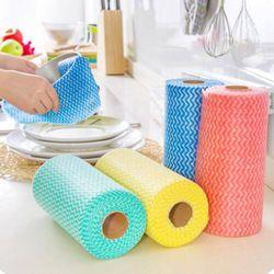 4 paket non-woven kain lap dapur bersih hidangan kain non-stick penggosok minyak tidak bisa kehilangan rambut kain cuci