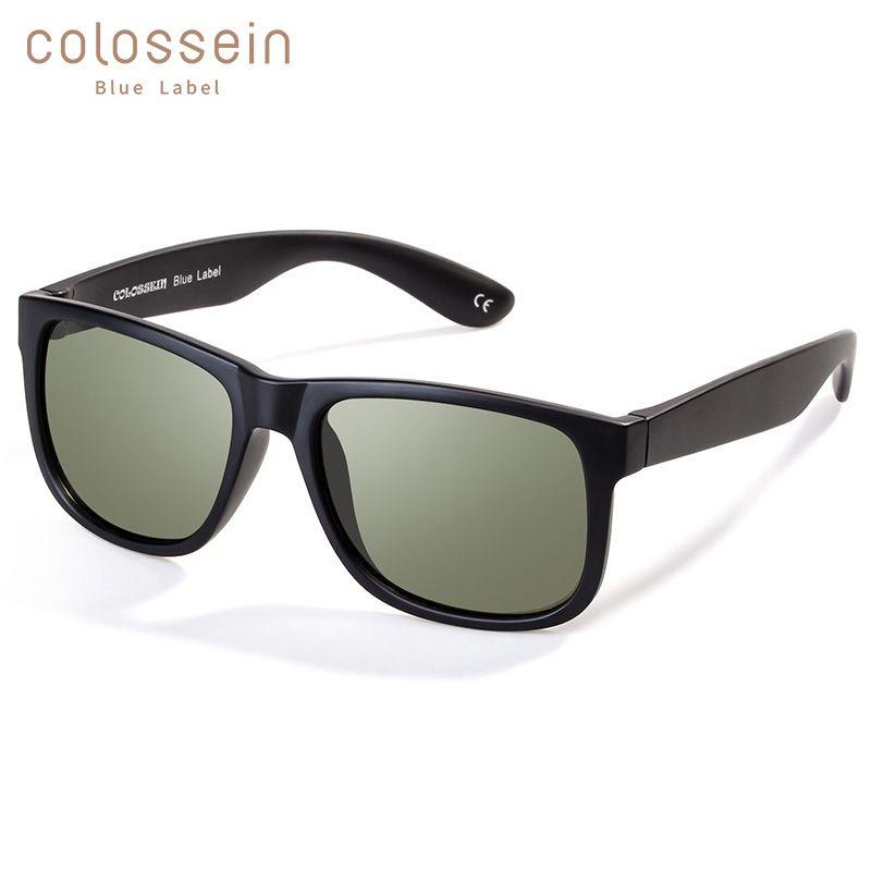 COLOSSEIN classique lunettes de soleil femmes polarisées lunettes de soleil noir carré bleu cadre hommes lunettes pour adultes conduite pêche UV400
