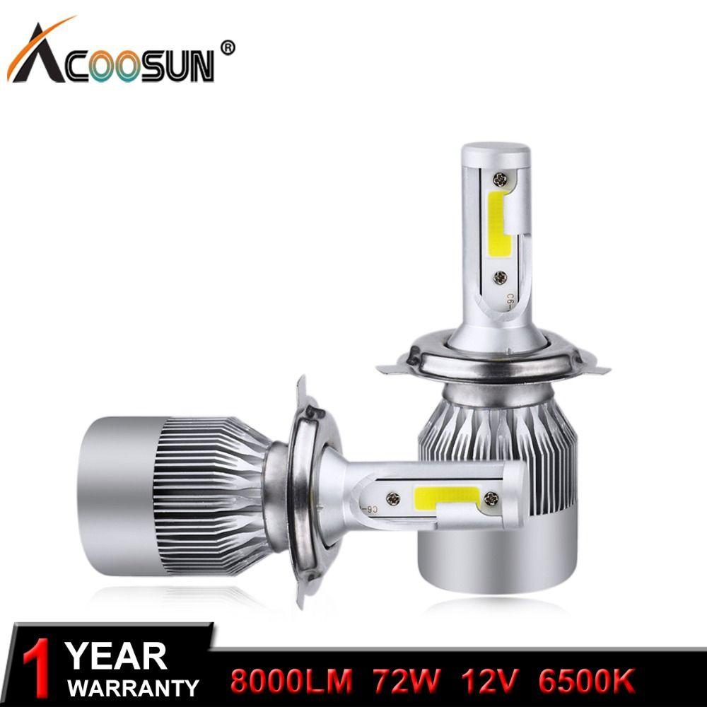 AcooSun H4 H7 LED Car Headlight C6 H1 H3 Headlamp Light H8/H11 HB3/9005 HB4/9006 <font><b>9012</b></font> 9007 H13 6000K 72W 8000LM All In One Car