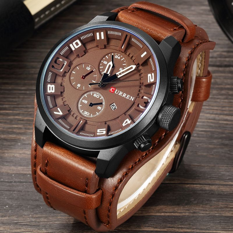 CURREN 2019 New Men Fashion Quartz Watches Men's Army Leather Sports Wrist Watch Military Date Male Clock Relogio Masculino