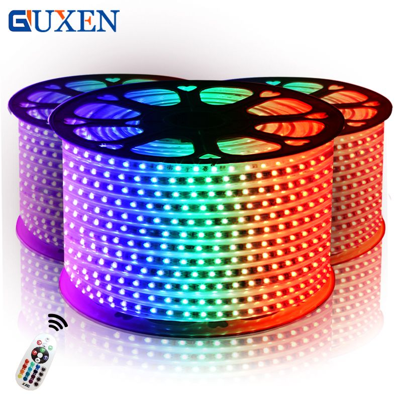 GUXEN SMD5050 RGB Outdoor 110V/220V IP65 Waterproof LED Strip 10M-50M 60leds/m + Power Supply +IR Remote Control