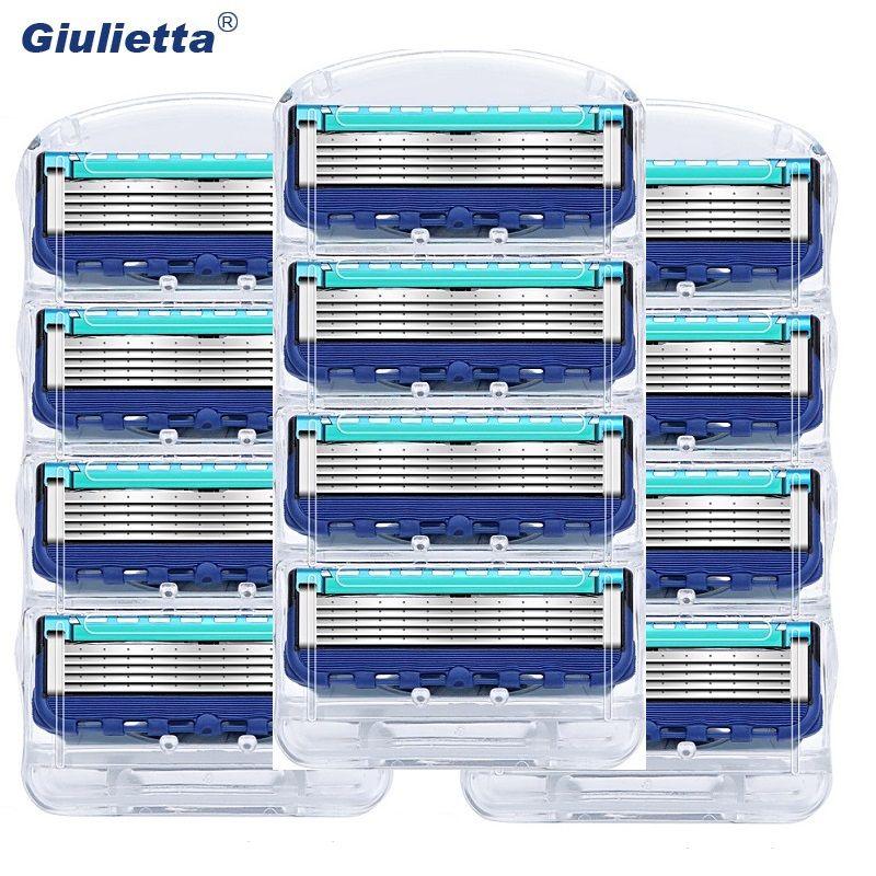 12 pcs/pack Hommes Lames de Rasoir Soins Du Visage Rasage Cassettes Hommes Rasage Lames Compatible fit Gillettee Fusione