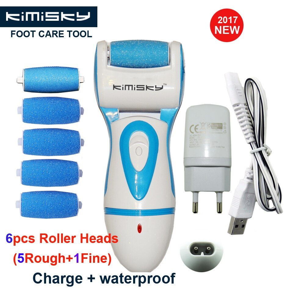 KIMISKY Blue Rechargeable and Waterproof Foot Care Tool Pedicure Callus Remover Foot Exfoliator Feet Dead Skin 5Ps Rollers Heads