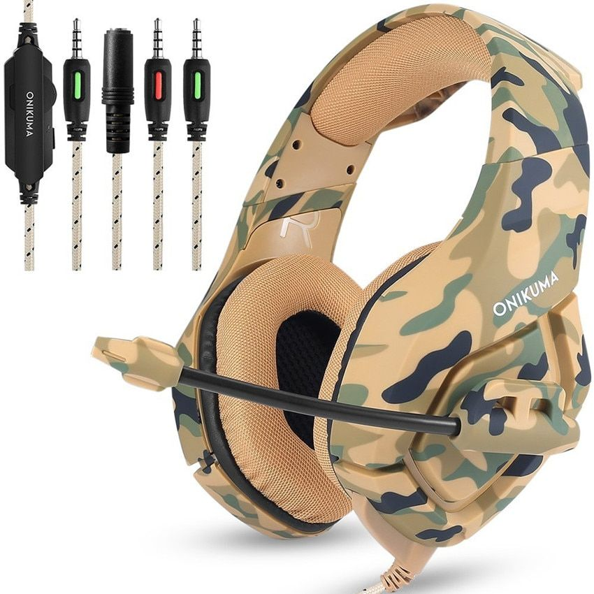 ONIKUMA K1 Camouflage PS4 Headset Bass Gaming Headphones Game Earphones Casque with Mic for PC Mobile Phone New Xbox One <font><b>Tablet</b></font>