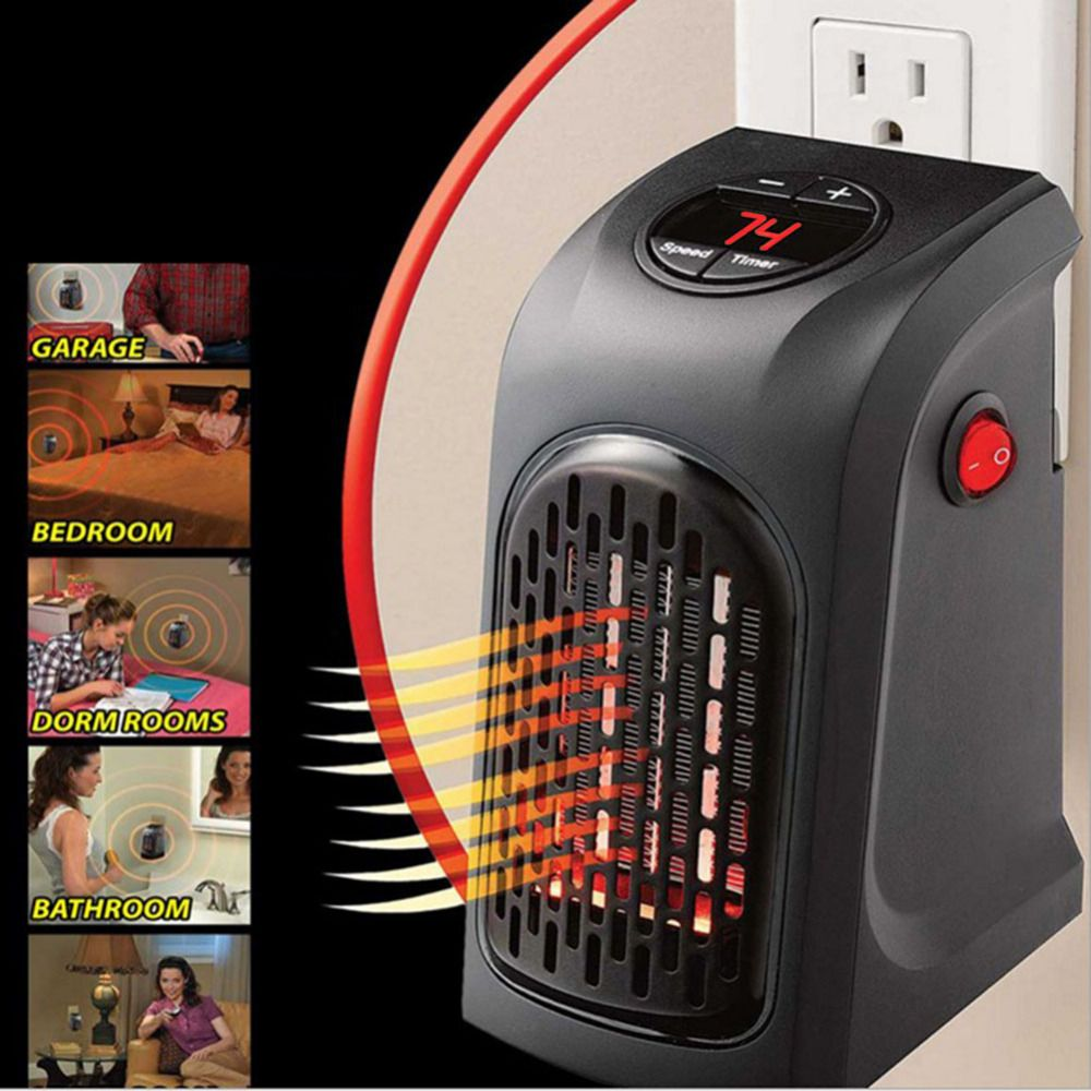 400W Mini Electric Heater Fan Heater Desktop Household Heating Stove Radiator Warmer Machine Wall-Outlet Heater for Winter Room