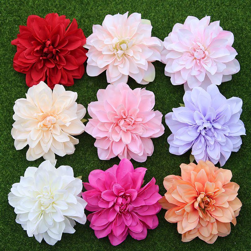 10 PCS/lot grande fleur Dahlia artificielle tête 14 CM Dia soie fleur mariage fleurs mur bricolage Flores fête maison décorative en gros