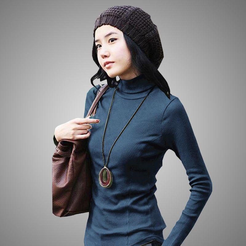 Плюс Размеры хлопковый плотный пуловер Водолазка осень длинный рукав растянуть над Размеры D Для женщин трикотажные осенне-зимние теплые С...