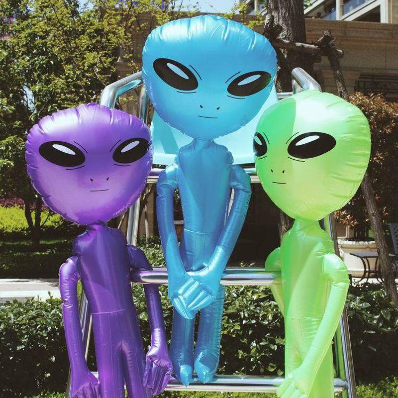 85 cm/160 cm/180 cm/220 cm modèle extraterrestre géant vert violet bleu ET enfants jouets gonflables adultes Halloween Cosplay fête approvisionnement exploser
