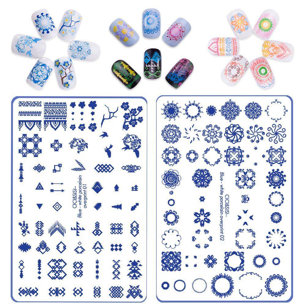 CICI и Sisi Дизайн ногтей тиснения Таблички штамповка Stamp шаблон Интимные аксессуары сине-белый надписью узор тема