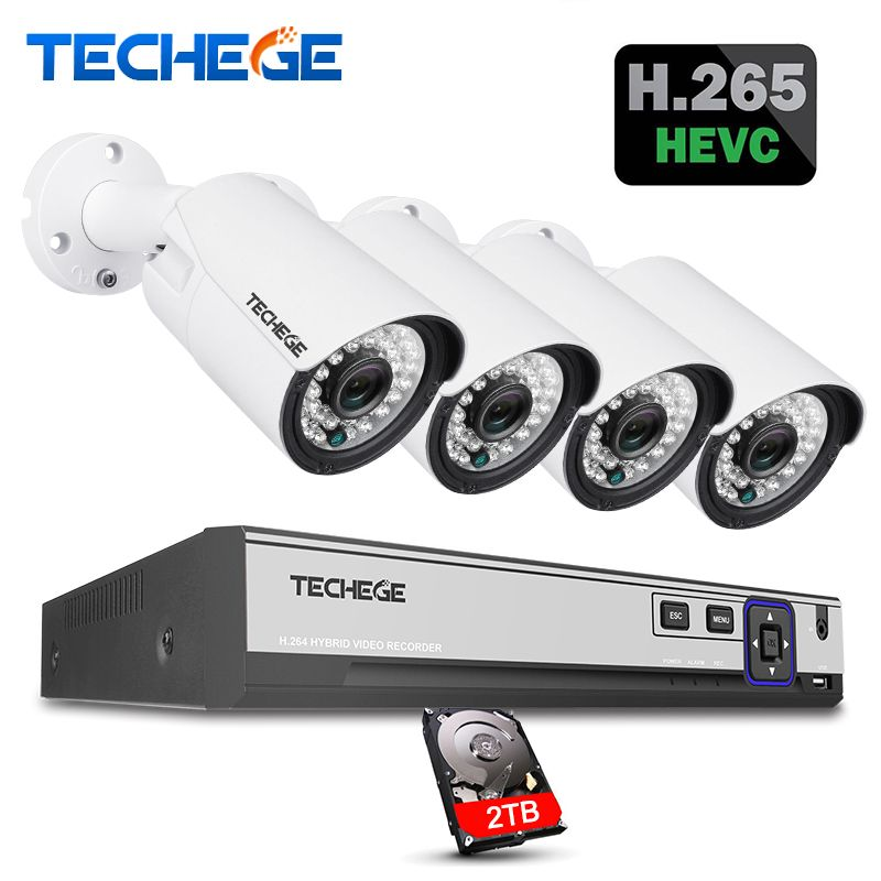 Techege H.265 H.264 5MP 2592*1944 Surveillance CCTV System 48V PoE 4CH NVR Kit 5MP 3MP 2MP Waterproof Outdoor CCTV Camera System