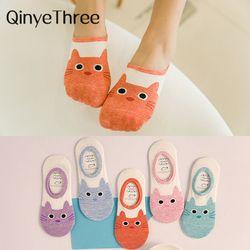 Милые носки в стиле Харадзюку с принтом кота женские летние корейские носки с забавными животными и низким вырезом носки ярких цветов